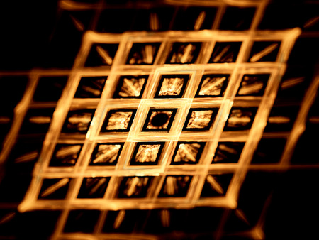 nanotechnology: Gold grid, nanotechnology, computer generated fractal background