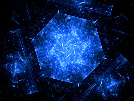 Blue hexagonal object, nanotechnology, computer generated fractal background photo
