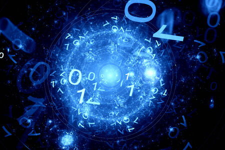 computation: Code zero one in cyberspace, computer generated fractal background