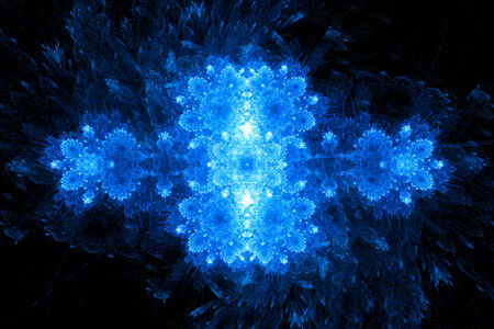 Abstract blue fractal crystal, computer generated background photo
