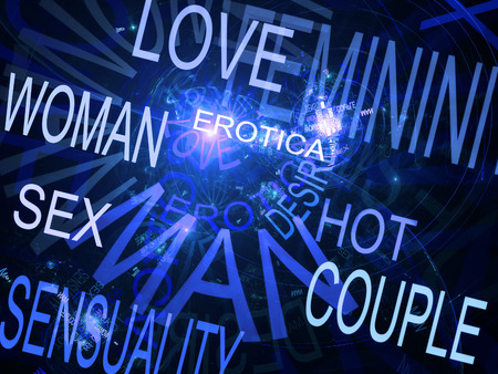 Words related with sexuality, blue fractal background photo
