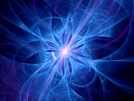 hadron: Abstract blue thermonuclear fusion, computer generated fractal background