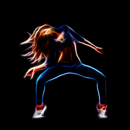 hip hop dancing: Female hip hop dancer, neon fractal artwork, isolated on black Stock Photo