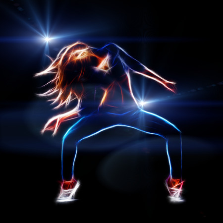 hip hop silhouette: Female hip hop dancer, neon fractal artwork, spot lights at background with rays and flare