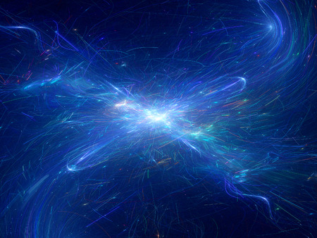 big bang theory: Plasma explosion in space, computer generated fractal background Stock Photo