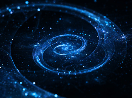 Spiral galaxy in deep space, abstract background