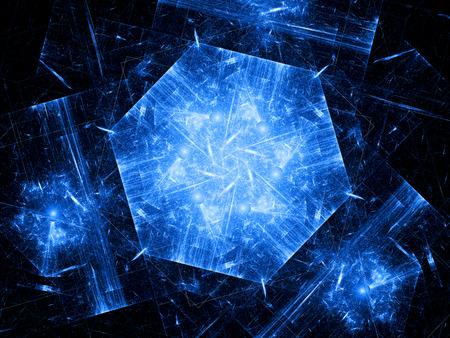 Blue hexagonal object, nanotechnology photo