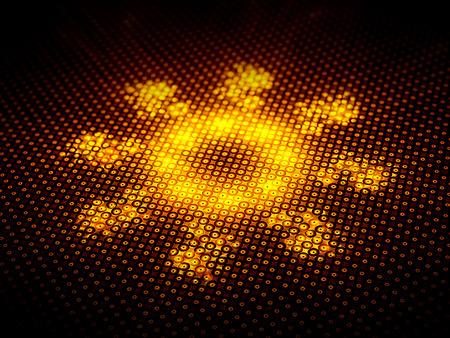 orange industry: Orange nanobot, computer generated fractal background