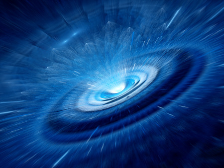 Blue spiral wormhole with flying particles, radiation  The opposite side of black hole