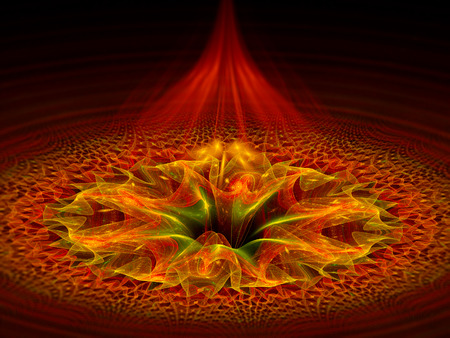 Red dimensional gate, computer generated abstract fractal background photo