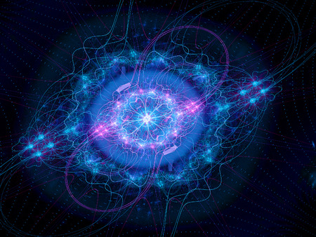 Higgs boson blue, god particle, computer generated fractal background