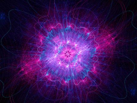 Boson de Higgs rose, particule d'un dieu, généré par ordinateur fond fractale Banque d'images