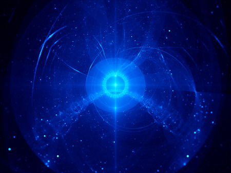 Blue nebula in space, computer generated fractal background photo