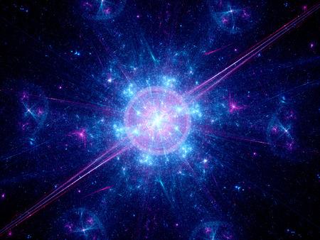 the big bang: Big bang in space, computer generated fractal background