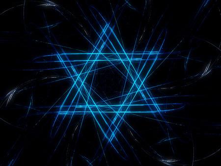 simbolos religiosos: Dise�o jud�a estrella de David, azul de fondo abstracto fractal, generado por ordenador