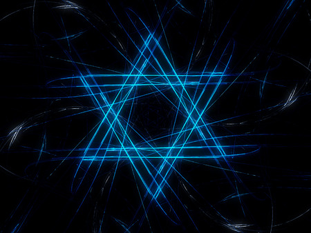 Jewish David star design, blue abstract fractal background, computer generated