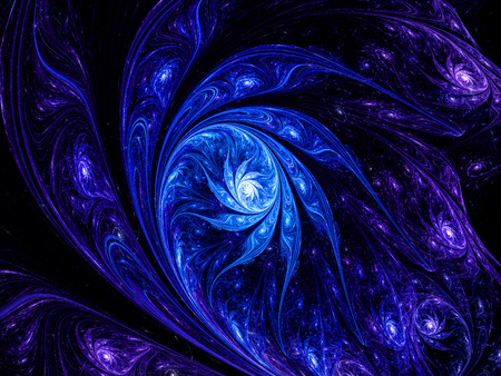 Artistic space blue flower nebula, computer generated fractal background photo