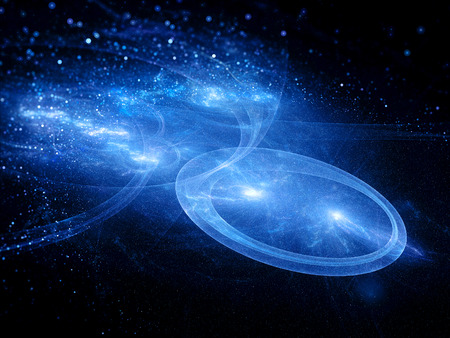 Blue star systems with trajectories in space, abstract background photo