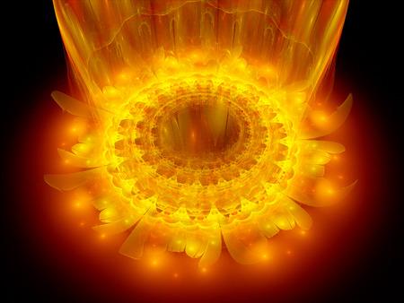 The heart of fire mandala, fractal background photo