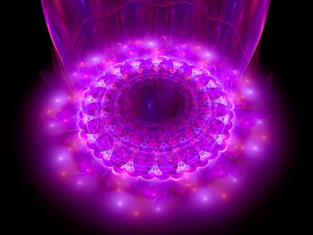 microcosm: The heart of pink mandala, fractal background Stock Photo