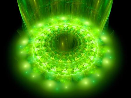 microcosm: The heart of green mandala, fractal background