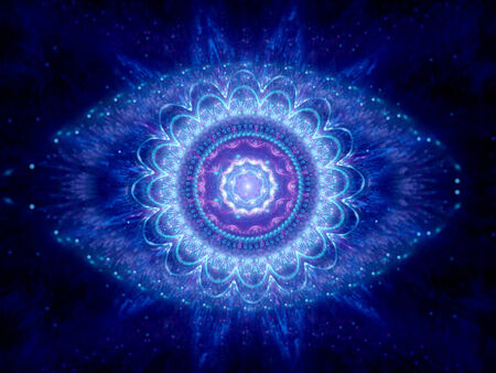 big brother spy: Big brother eye in cyberspace, blue magic mandala in space Stock Photo