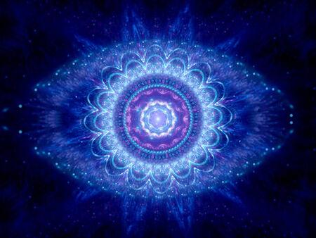 big brother: Big brother eye in cyberspace, blue magic mandala in space Stock Photo