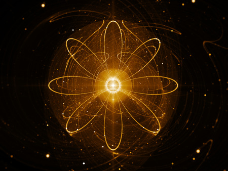 nuclear energy: Nuclear power in space, gold flames, abstract science background