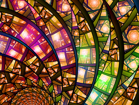 stained glass church: Colorful stained-glass, computer generated abstract fractal background