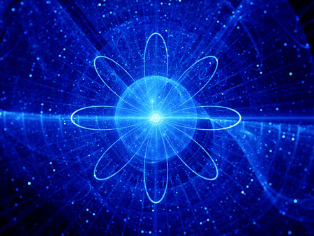 quantum: Blue nuclear core, fission, computer generated abstract background