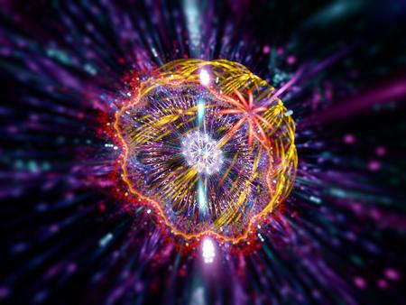 Podwodne meduzy, generowany komputerowo streszczenie fraktalna tle