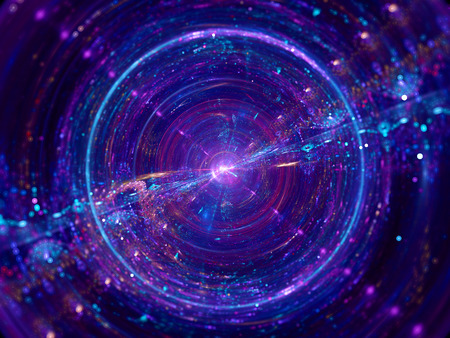 Colorful wormhole, computer generated abstract fractal background 写真素材