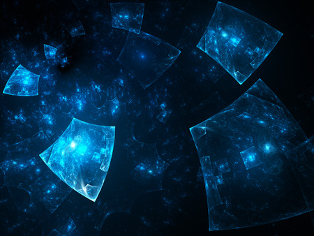 Glowing blue squares in space, future, computer generated abstract fractal background