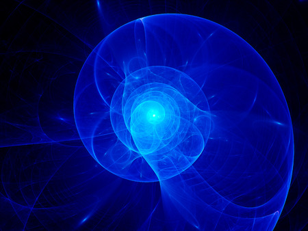Blue plasma spiral in space, computer generated abstract background