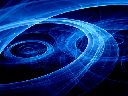 astrophotography: Blue plasma rays in space, computer generated abstract background Stock Photo