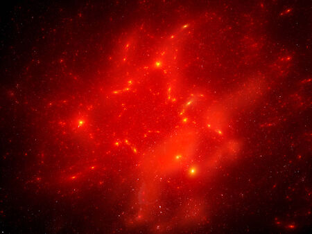 Red nebula in space, computer generated abstract