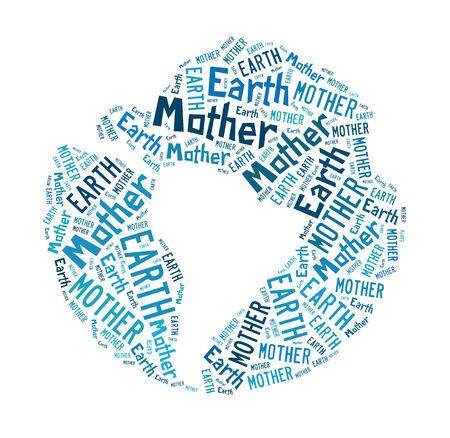 madre terra: Madre Terra, word cloud astratto, isolato su bianco