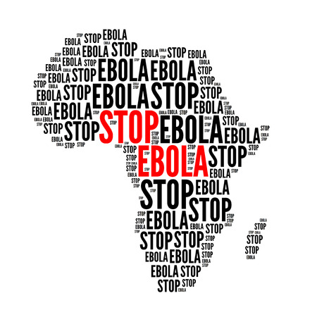 ebola: Stop ebola red black text cloud, isolated on white
