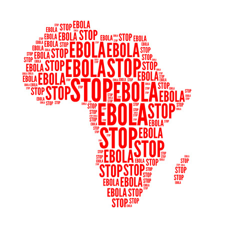 ebola: Stop ebola, red word cloud , isolated on white