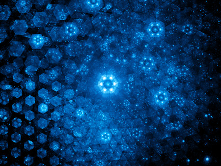 Nanotechnology, glowing blue hexagons, computer generated abstract background