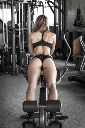 Abs six pack and ass workout, blonde woman photo