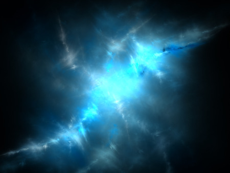 Blue nebula in space, computer generated abstract background photo