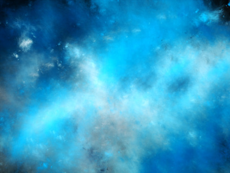 Blue space fog, glowing multicolored plasma in space, computer generated abstract background photo