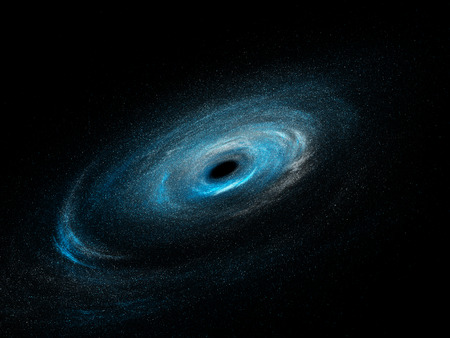 black hole: Spiral galaxy with stars and black hole, computer generated abstract background