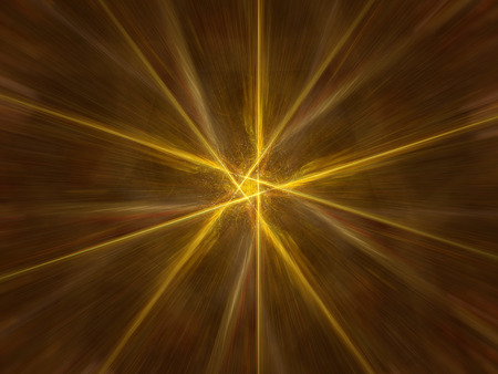 Gold glowing zoomed star, computer generated abstract background
