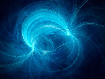 Blue electromagnetic field, computer generated abstract background Imagens