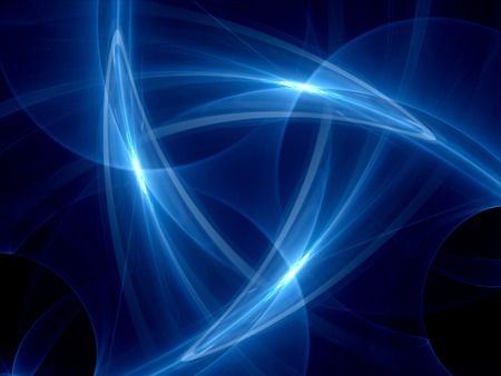 Blue glowing curves in space, computer generated abstract background