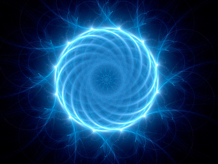 Blue glowing circular power in space, computer generated abstract background photo