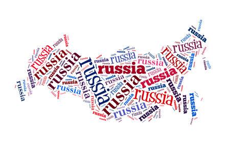bandera rusia: Rusia nube de la palabra, aislados en fondo blanco Foto de archivo