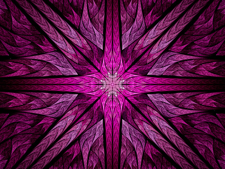 fractal pink: Colorful pink cross, computer generated abstract background